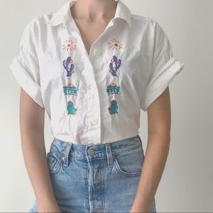 Vintage • 100% Cotton Cactus Blouse